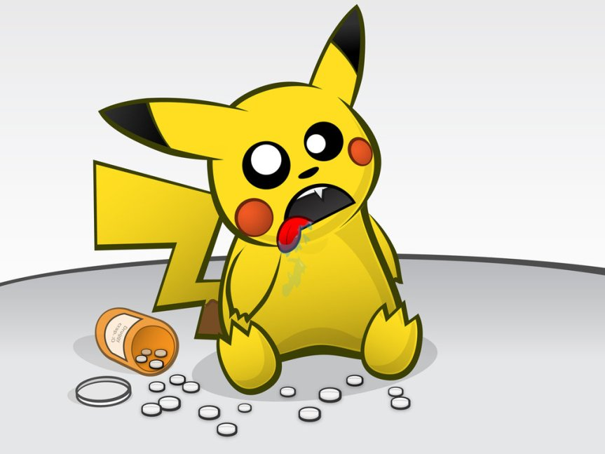 drugged up pikachu